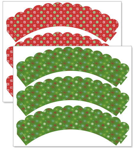 free Christmas cupcake wrappers printables