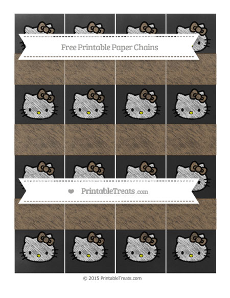Free Coyote Brown Chalk Style Hello Kitty Paper Chains