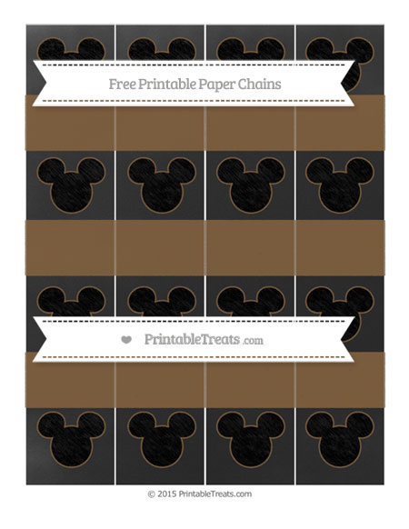 Free Coyote Brown Chalk Style Mickey Mouse Paper Chains