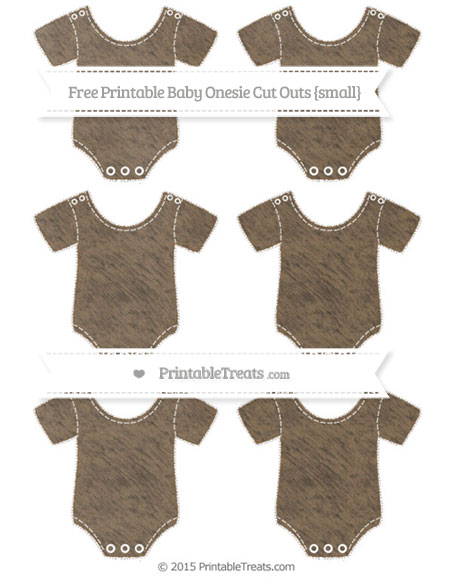 Free Coyote Brown Chalk Style Small Baby Onesie Cut Outs
