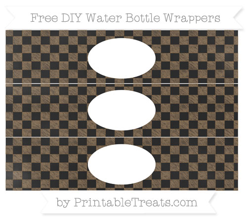 Free Coyote Brown Checker Pattern Chalk Style DIY Water Bottle Wrappers