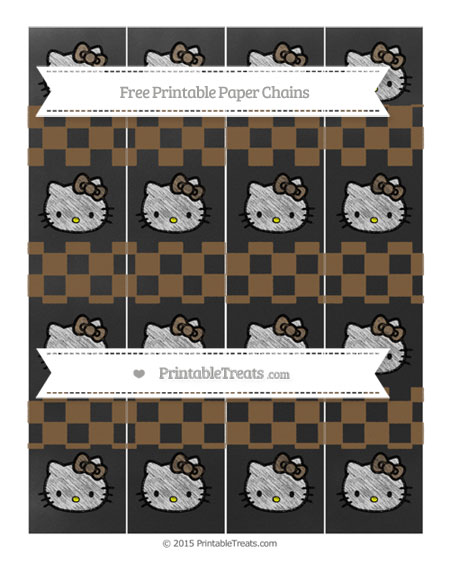 Free Coyote Brown Checker Pattern Chalk Style Hello Kitty Paper Chains