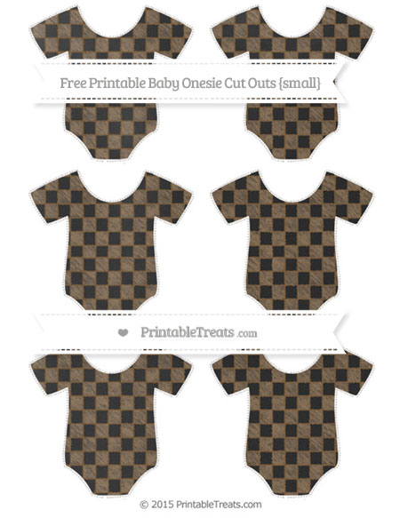 Free Coyote Brown Checker Pattern Chalk Style Small Baby Onesie Cut Outs