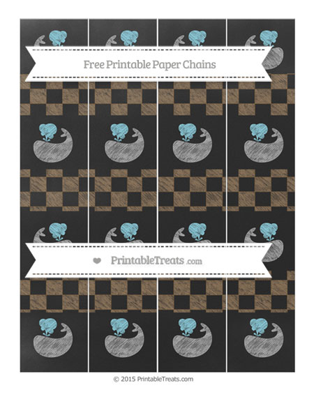 Free Coyote Brown Checker Pattern Chalk Style Whale Paper Chains