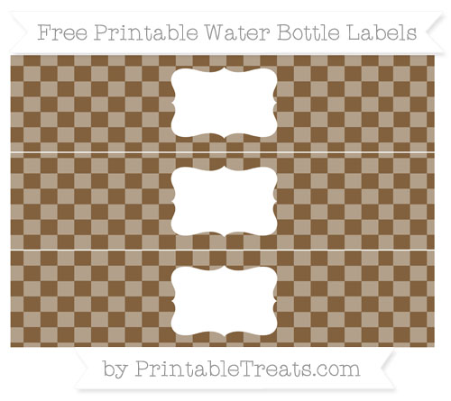 Free Coyote Brown Checker Pattern Water Bottle Labels