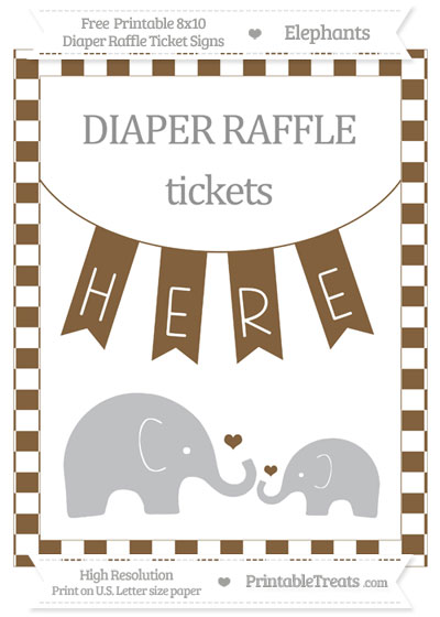 Free Coyote Brown Checker Pattern Elephant 8x10 Diaper Raffle Ticket Sign