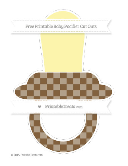 Free Coyote Brown Checker Pattern Extra Large Baby Pacifier Cut Outs
