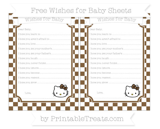 Free Coyote Brown Checker Pattern Hello Kitty Wishes for Baby Sheets