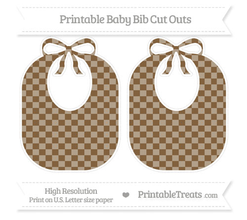 Free Coyote Brown Checker Pattern Large Baby Bib Cut Outs