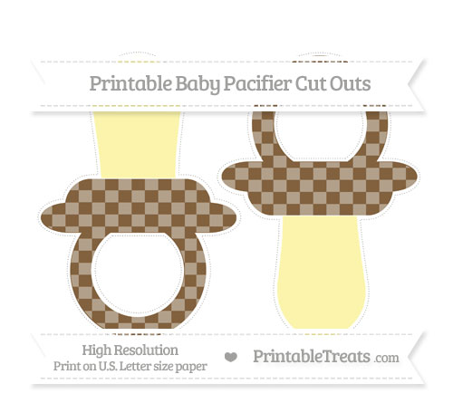 Free Coyote Brown Checker Pattern Large Baby Pacifier Cut Outs