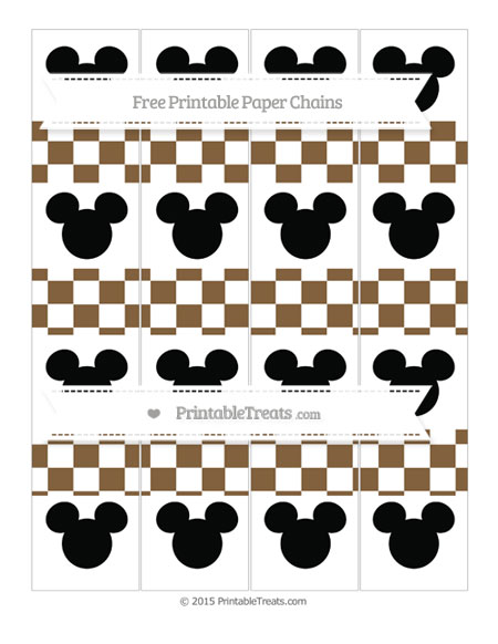 Free Coyote Brown Checker Pattern Mickey Mouse Paper Chains