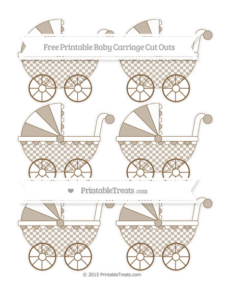 Free Coyote Brown Checker Pattern Small Baby Carriage Cut Outs