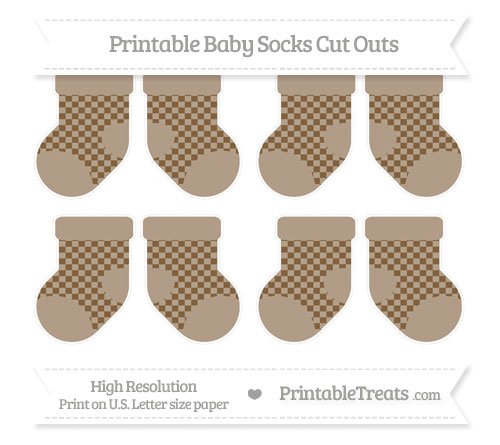 Free Coyote Brown Checker Pattern Small Baby Socks Cut Outs