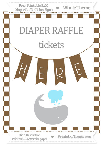 Free Coyote Brown Checker Pattern Whale 8x10 Diaper Raffle Ticket Sign
