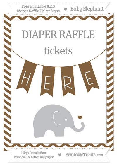 Free Coyote Brown Chevron Baby Elephant 8x10 Diaper Raffle Ticket Sign