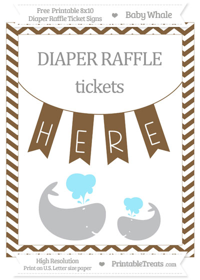 Free Coyote Brown Chevron Baby Whale 8x10 Diaper Raffle Ticket Sign