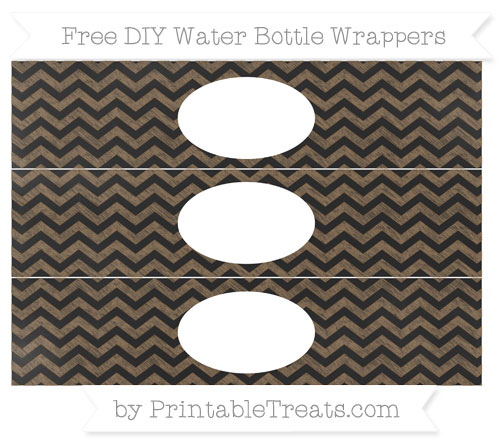 Free Coyote Brown Chevron Chalk Style DIY Water Bottle Wrappers
