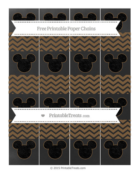 Free Coyote Brown Chevron Chalk Style Mickey Mouse Paper Chains