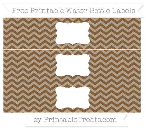 Free Coyote Brown Chevron Water Bottle Labels