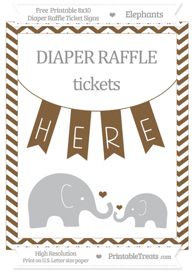 Free Coyote Brown Chevron Elephant 8x10 Diaper Raffle Ticket Sign