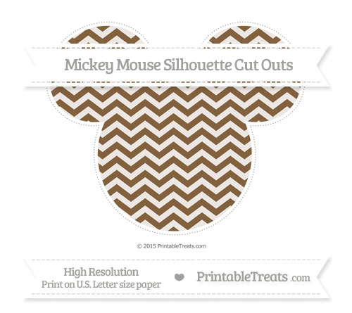 Free Coyote Brown Chevron Extra Large Mickey Mouse Silhouette Cut Outs