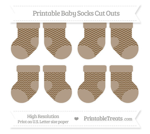 Free Coyote Brown Chevron Small Baby Socks Cut Outs