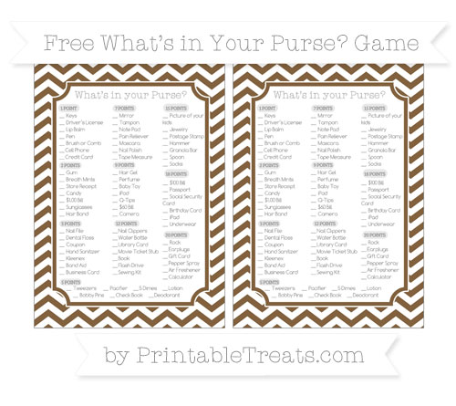 Free Coyote Brown Chevron What's in Your Purse Baby Shower Game