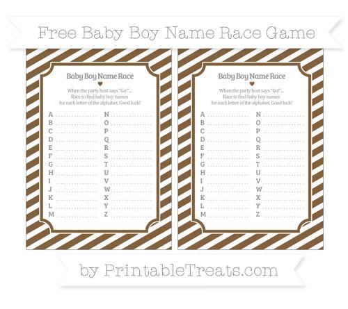 Free Coyote Brown Diagonal Striped Baby Boy Name Race Game