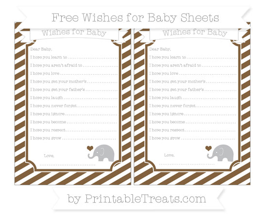 Free Coyote Brown Diagonal Striped Baby Elephant Wishes for Baby Sheets