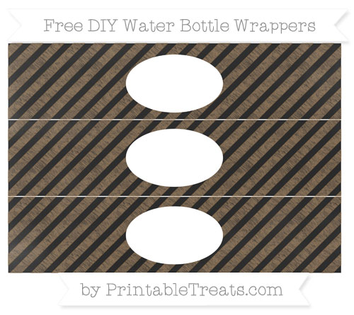Free Coyote Brown Diagonal Striped Chalk Style DIY Water Bottle Wrappers