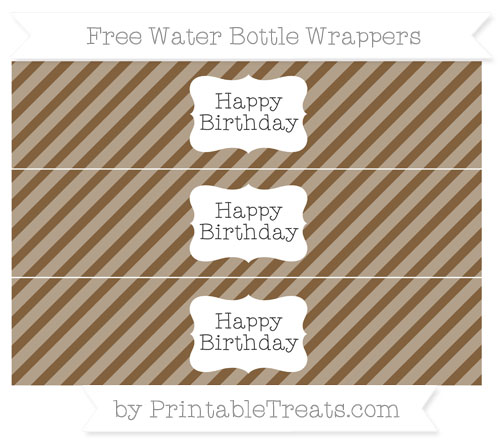 Free Coyote Brown Diagonal Striped Happy Birhtday Water Bottle Wrappers