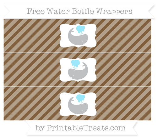 Free Coyote Brown Diagonal Striped Whale Water Bottle Wrappers