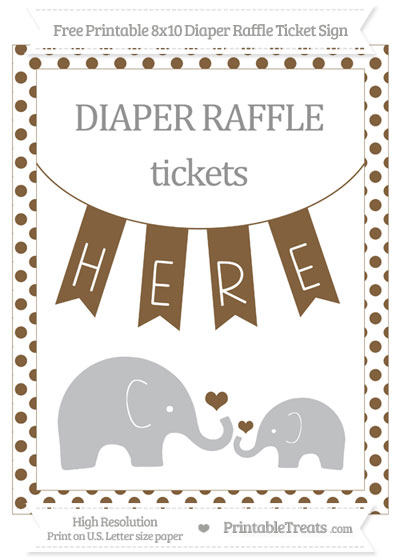 Free Coyote Brown Dotted Elephant 8x10 Diaper Raffle Ticket Sign