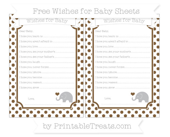 Free Coyote Brown Dotted Pattern Baby Elephant Wishes for Baby Sheets