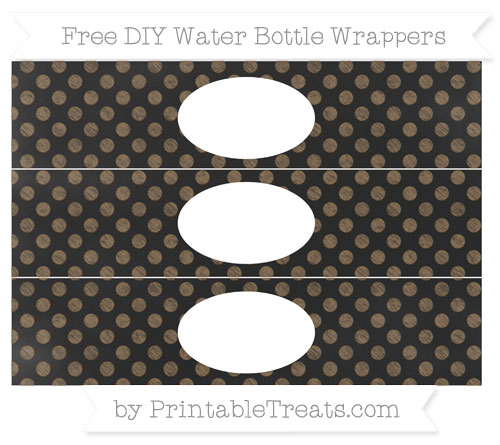 Free Coyote Brown Dotted Pattern Chalk Style DIY Water Bottle Wrappers