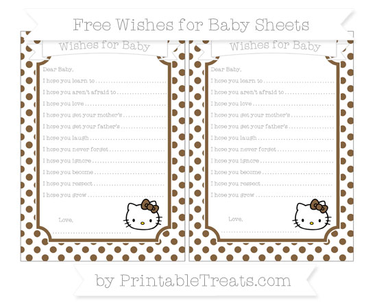 Free Coyote Brown Dotted Pattern Hello Kitty Wishes for Baby Sheets