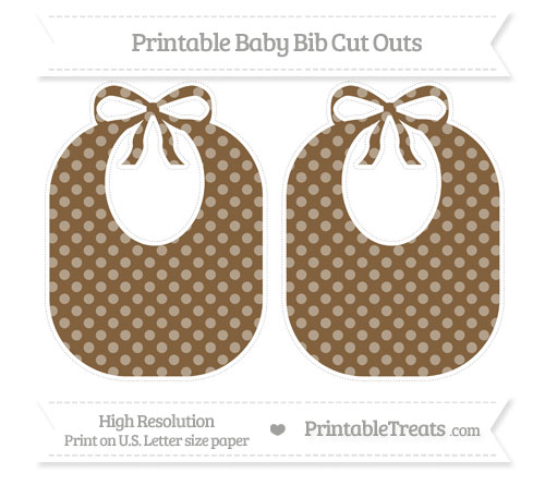 Free Coyote Brown Dotted Pattern Large Baby Bib Cut Outs
