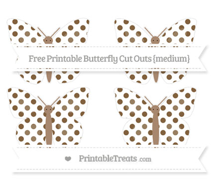 Free Coyote Brown Dotted Pattern Medium Butterfly Cut Outs