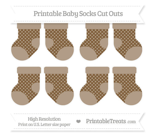 Free Coyote Brown Dotted Pattern Small Baby Socks Cut Outs
