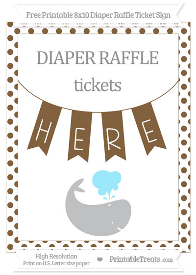 Free Coyote Brown Dotted Whale 8x10 Diaper Raffle Ticket Sign