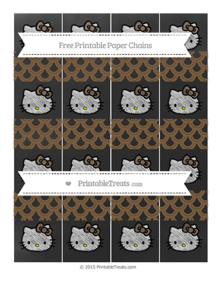 Free Coyote Brown Fish Scale Pattern Chalk Style Hello Kitty Paper Chains