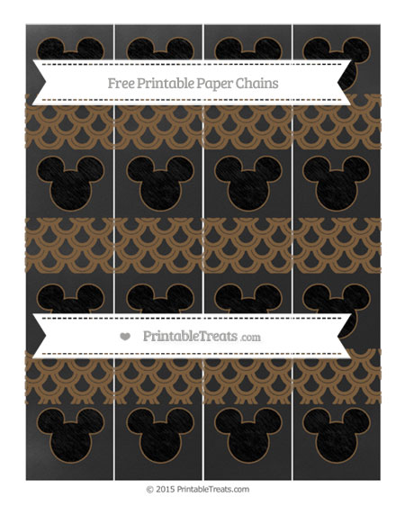Free Coyote Brown Fish Scale Pattern Chalk Style Mickey Mouse Paper Chains