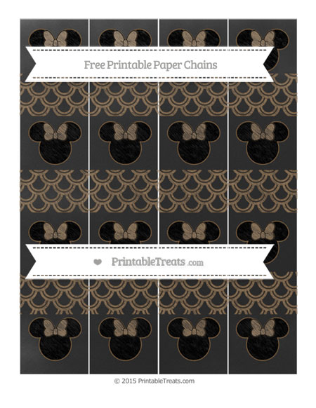 Free Coyote Brown Fish Scale Pattern Chalk Style Minnie Mouse Paper Chains