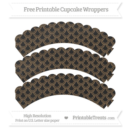 Free Coyote Brown Fish Scale Pattern Chalk Style Scalloped Cupcake Wrappers