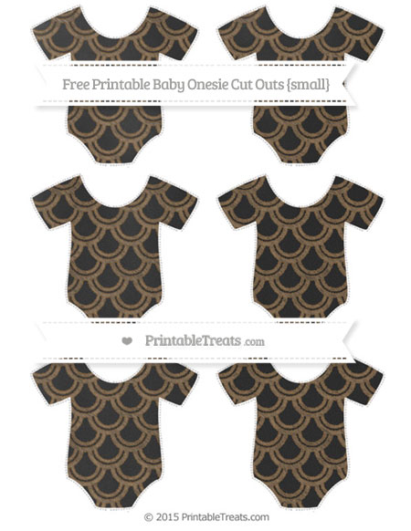 Free Coyote Brown Fish Scale Pattern Chalk Style Small Baby Onesie Cut Outs