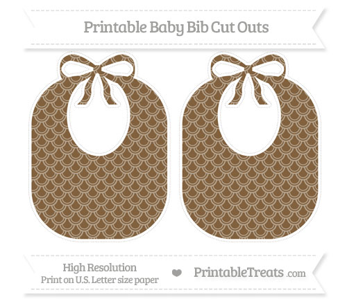 Free Coyote Brown Fish Scale Pattern Large Baby Bib Cut Outs