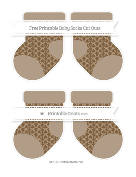 Free Coyote Brown Fish Scale Pattern Medium Baby Socks Cut Outs
