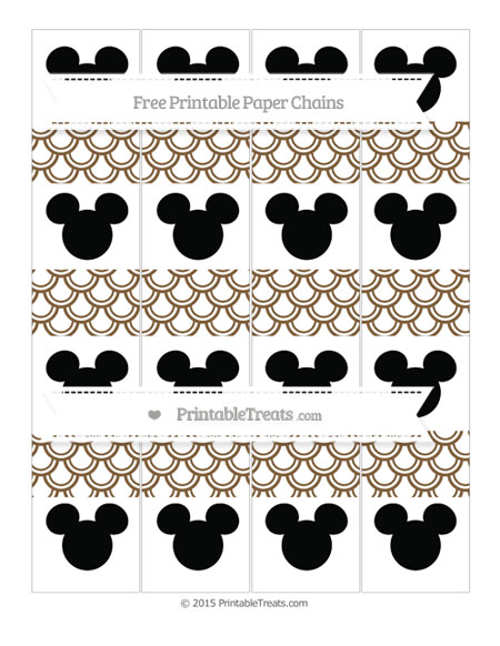 Free Coyote Brown Fish Scale Pattern Mickey Mouse Paper Chains