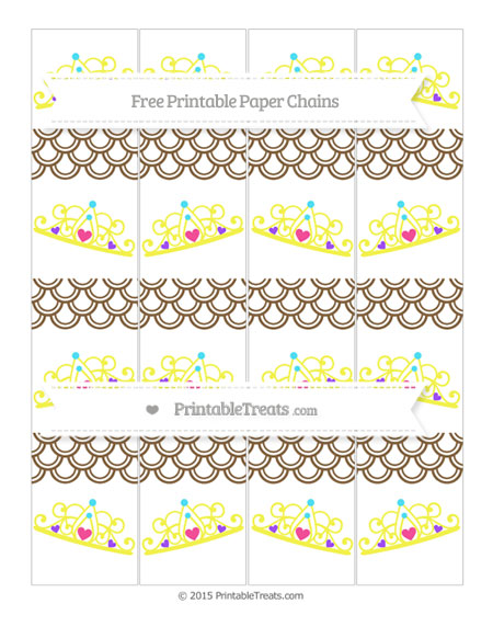 Free Coyote Brown Fish Scale Pattern Princess Tiara Paper Chains