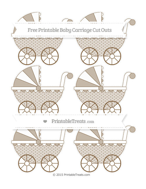 Free Coyote Brown Fish Scale Pattern Small Baby Carriage Cut Outs